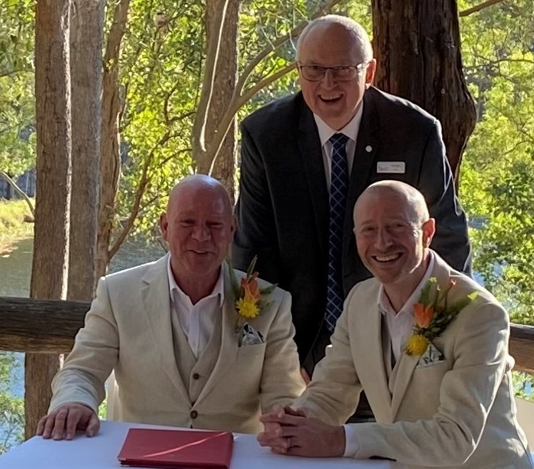 Brisbane Celebrant Michael Janz with Garry and David Walkabout Creek The Gap Wedding